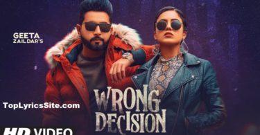 Wrong Decision Lyrics