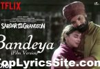 Bandeya Lyricsa